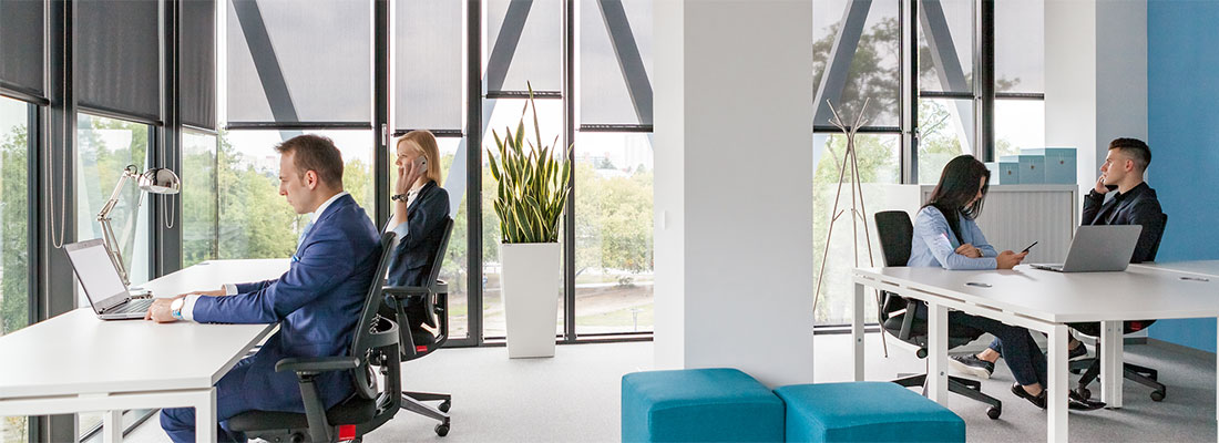 Men and women working in a spacious office